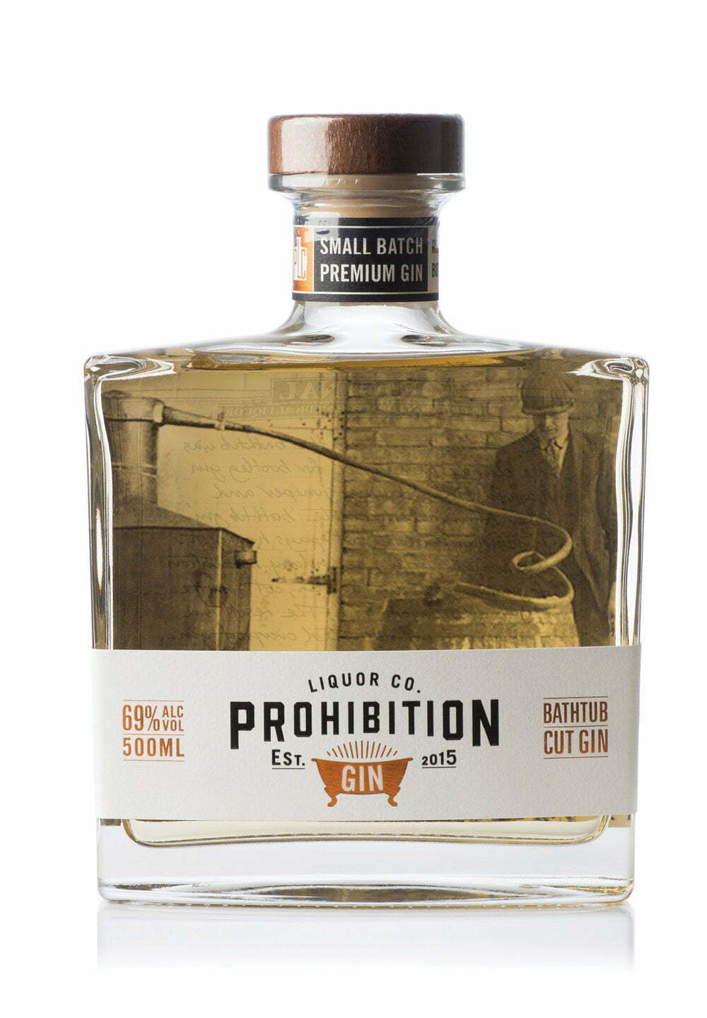 Prohibition Bathtub-Cut Gin 500ml Bottle - Front View