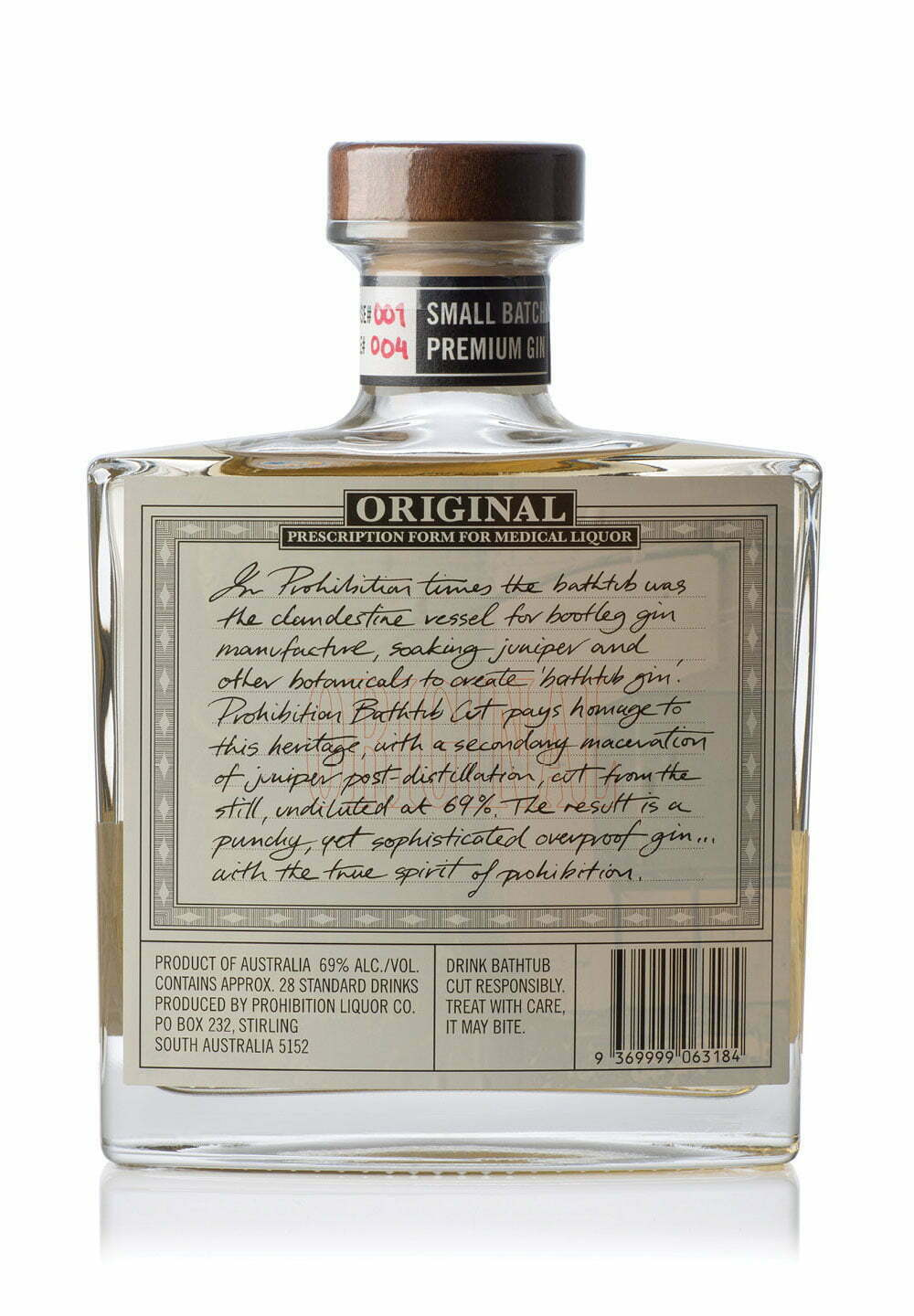 Prohibition Bathtub-Cut Gin 500ml Bottle - Rear View