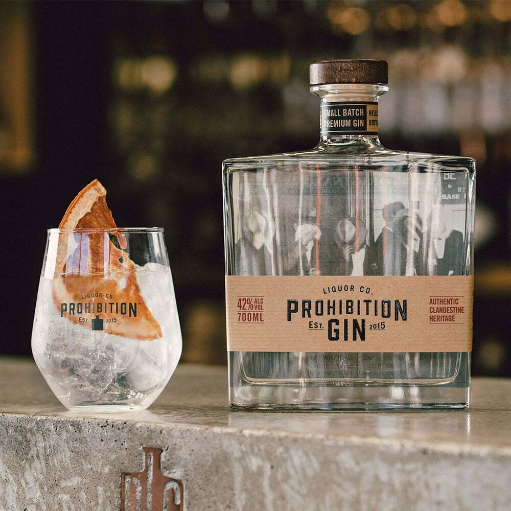 Prohibition Liquor Original Gin 700ml bottle and a Gin and Tonic