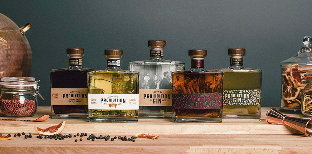 Prohibition Liquor Range, Negroni, Bathtub, Original, Shiraz Barrel and Christmas Gin.